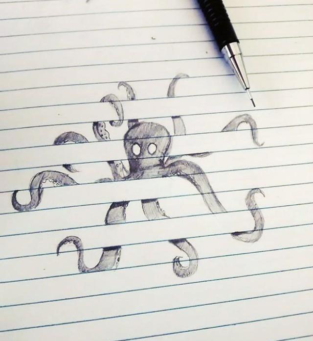 Desenhos Superlegais Que Interagem Com As Linhas De Caderno